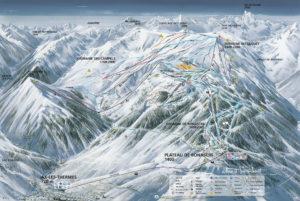 plan des pistes de la station Ax 3 Domaines accès au restaurant d'altitude le tetras
